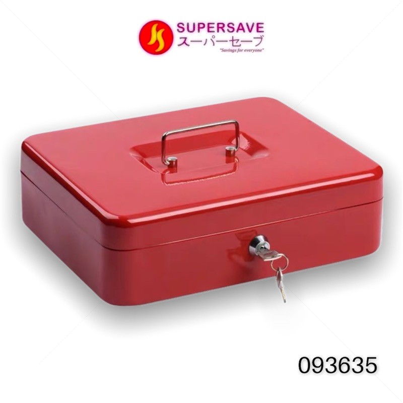 Extra Large Metal Cash Box with Handle and Tray Money Safe Coins Bank Cash Safety Box for Pasar Malam Office Home