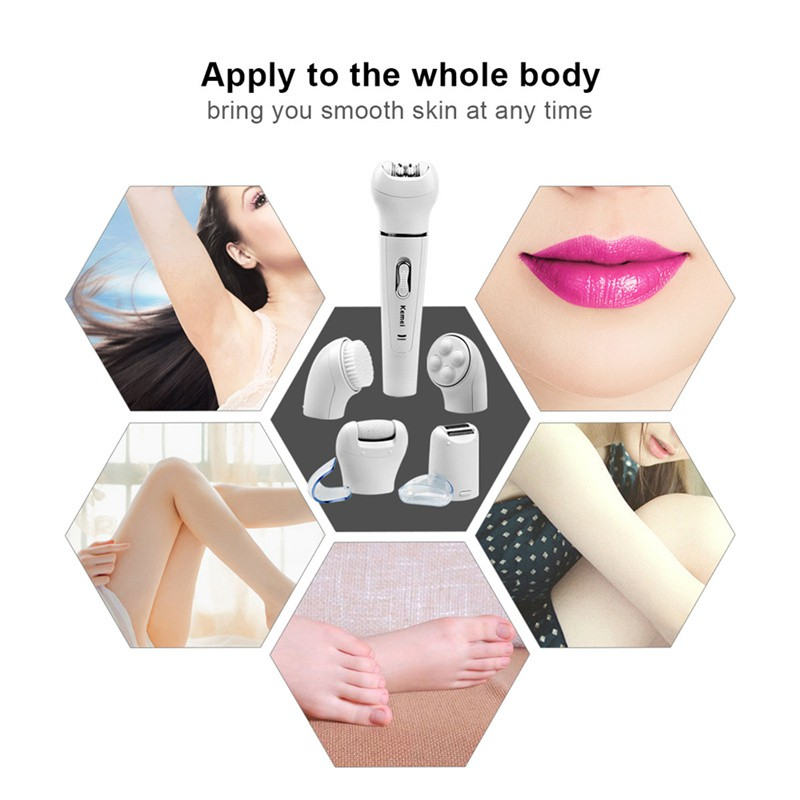 Kemei 5 In 1 Electric Epilator Women Shaver Lady Face Cleaning Brush Bikini Plucking Hair Removal Callus Remover Facial Massager Beauty Tool