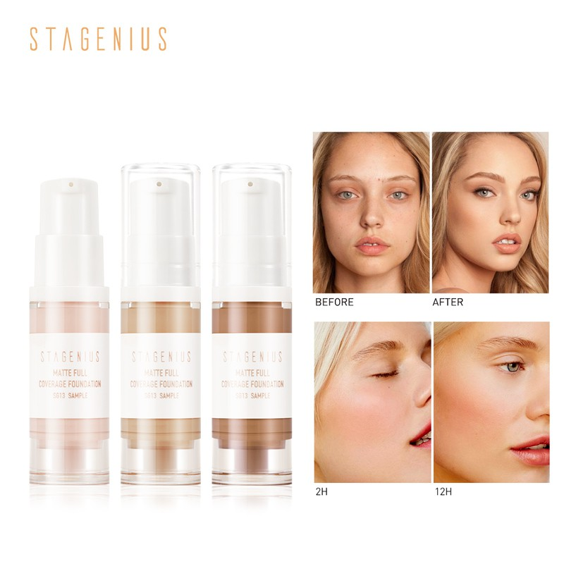 STAGENIUS 18HR Flawless Liquid Foundation Natural Nude Color Face Makeup Sample