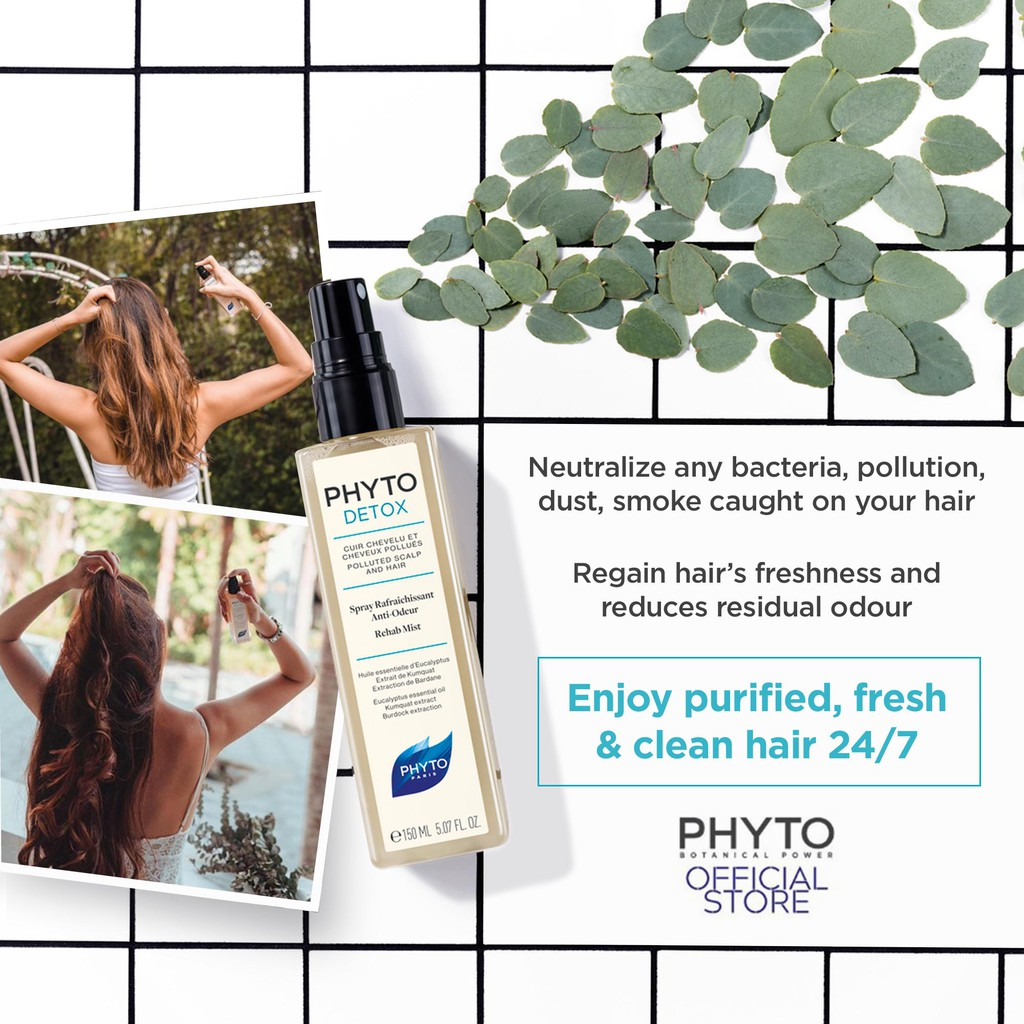 Phyto Phytodetox Anti-Odour Rehab Mist Dry Shampoo 150ml for Polluted Scalp and Hair
