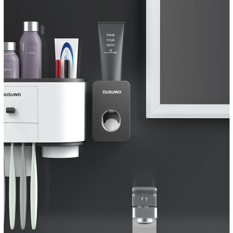 [OUSUWO] Bathroom automatic toothpaste squeeze Nordic style environmentally friendly materials free punching wall-mounted toothpaste container