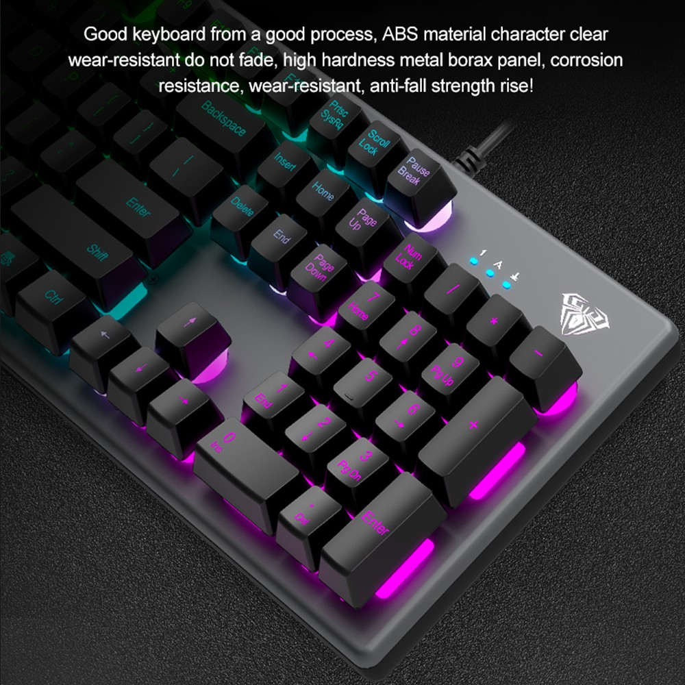 Keyboard Gaming Membrane AULA S-2056 Square- New LED R Backlight - Macro Software-Exquisite Keyboard