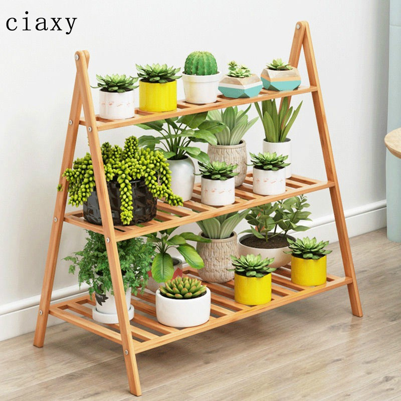 Indoor Multi Meat Flower Stand Landing Balcony Wall Flower Pot Stand Living Room Solid Wood Flower Stand Plant Stand Foldable 3 / 4 Floor / Balcony Garden Organizer Decoration