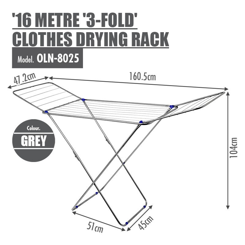 16 Metre '3-Fold Wing' Clothes Drying Airer Rack Grey