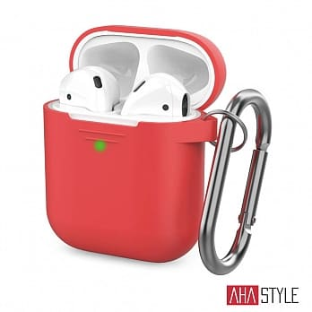 AHAStyle AirPods 1&2代 矽膠掛勾保護套  紅色