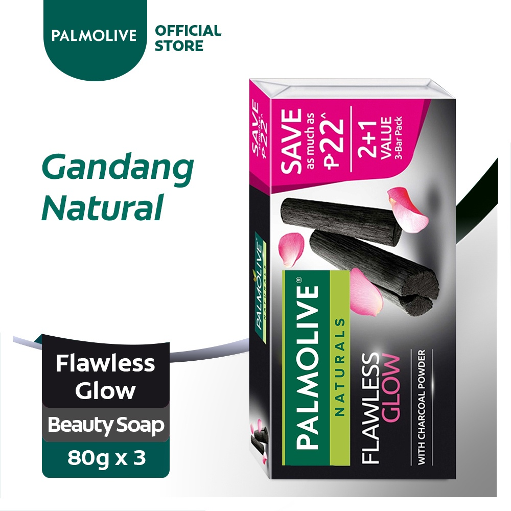 Palmolive Naturals Charcoal Flawless Glow Beauty Bar Soap 80g 2+1 Value Pack