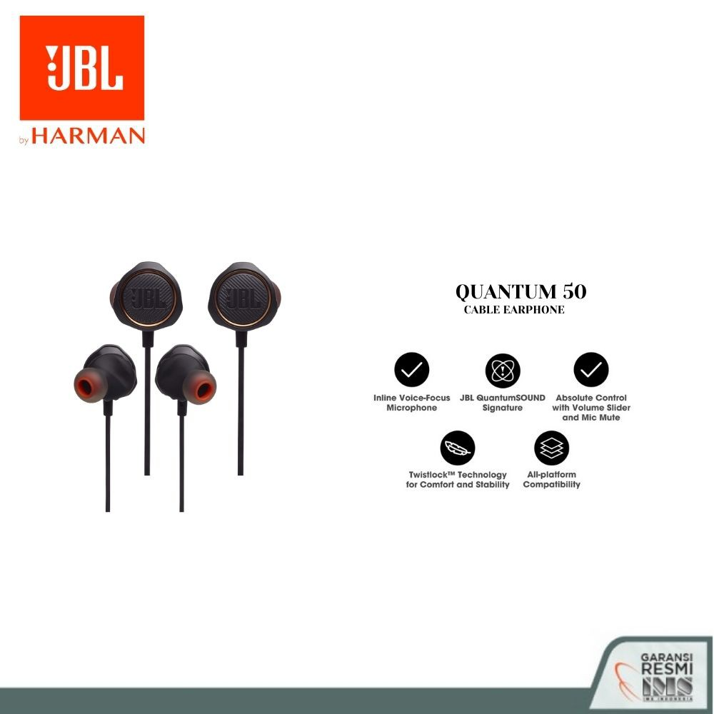 JBL Quantum 50 Wired In-Ear Gaming Headset with volume slider and mic mute - Garansi Resmi