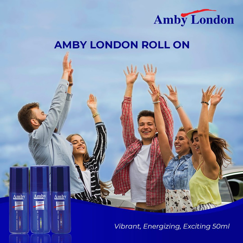 [Bundle of 3] Amby London Purely Instinct Deodorant Roll On 50 ml For Men Long Lasting Fresh Quick Dry Non-Sticky