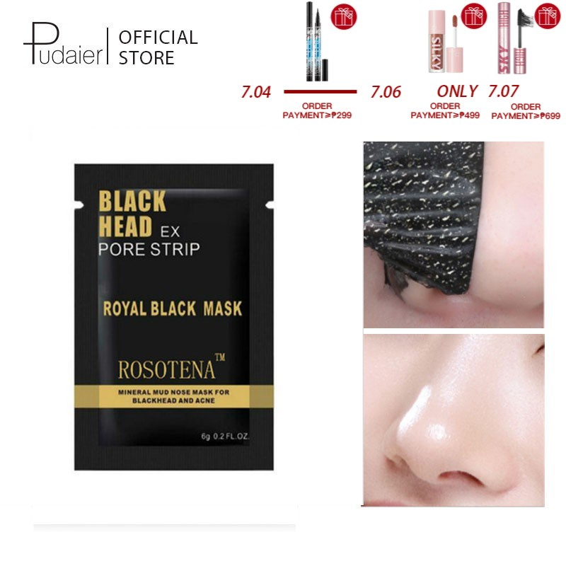 Pudaier Blackhead Remover Bamboo Charcoal Peel-Off Acne Treatment Nose Mask for All Skin Type