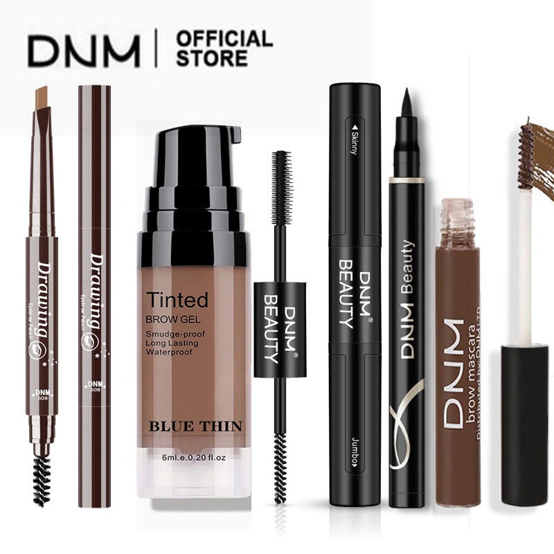DNM Automatic Eyebrow Pencil with brush Tools Waterproof 7 Colors black pencils