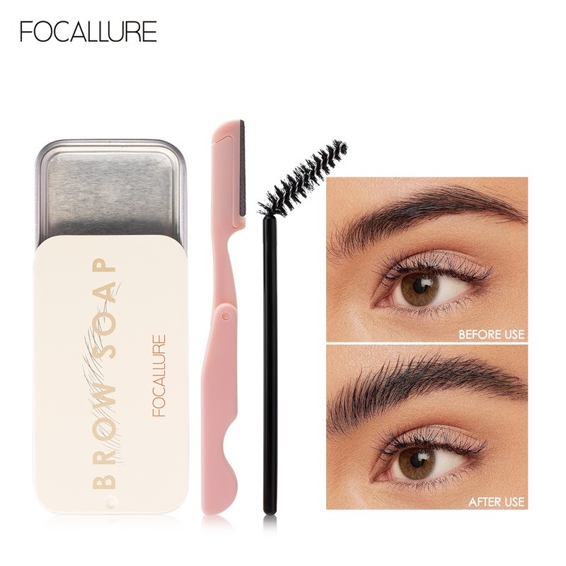Focallure 3D Feathery Eyebrow Styling Gel  Eyebrow Soap Wild Brow Styling Soap Eyebrow Gel Waterproof Long-Lasting 3pcs  brow soap