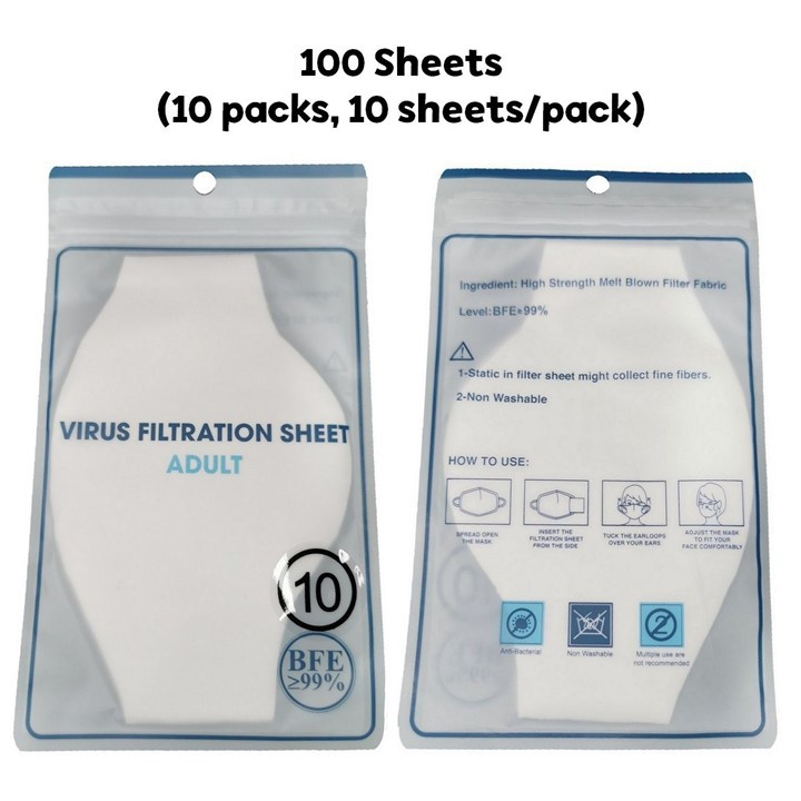 Disposable Filtration Sheets Certified BFE 99 percent - 100 sheets