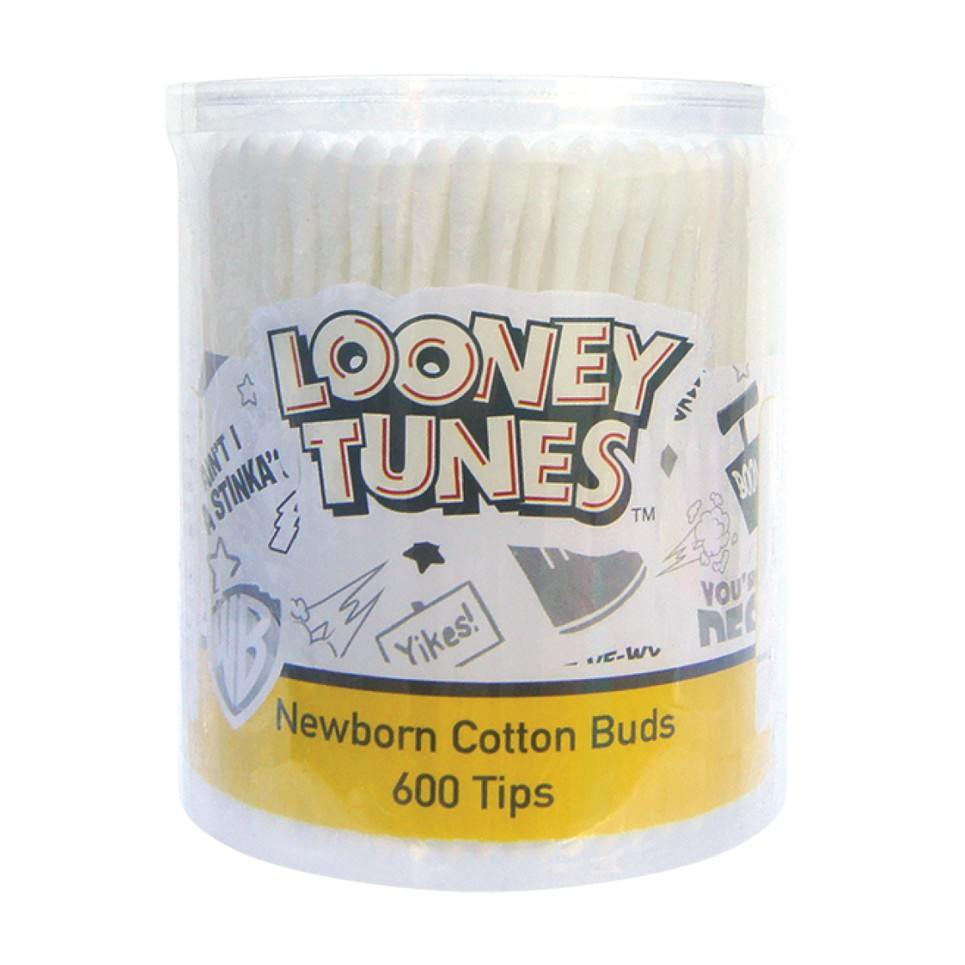 Looney Tunes 600 Tips Newborn Cotton Buds with 2 Packs Looney Tunes 200 Tips Newborn Cotton Buds