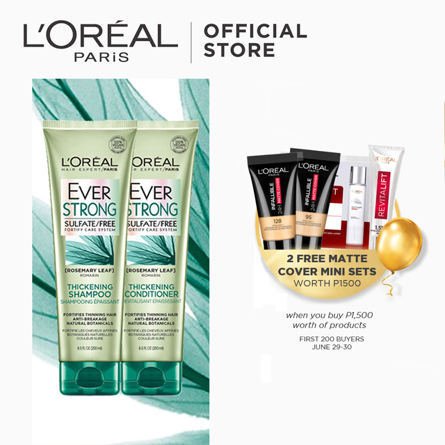 LOreal Paris Ever Strong Thickening Sulfate-Free Shampoo and Conditioner [BUNDLE]