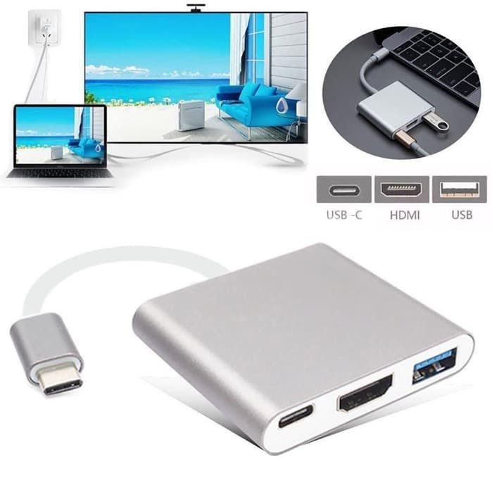 Mediatech Kabel USB 3.1 Type C To HDMI To USB 3.0 To Type C Adapter - 649784