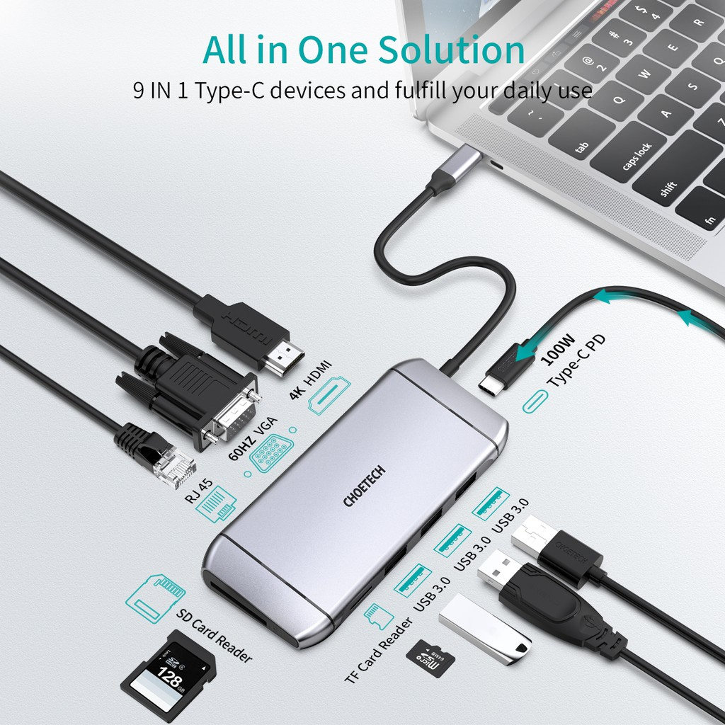 CHOETECH 9 in 1 USB C Adapter with 4K USB C to HDMI,Ethernet,VGA,100W USB C PD Charging,TF,SD Card Reader,3 USB 3.0 Ports