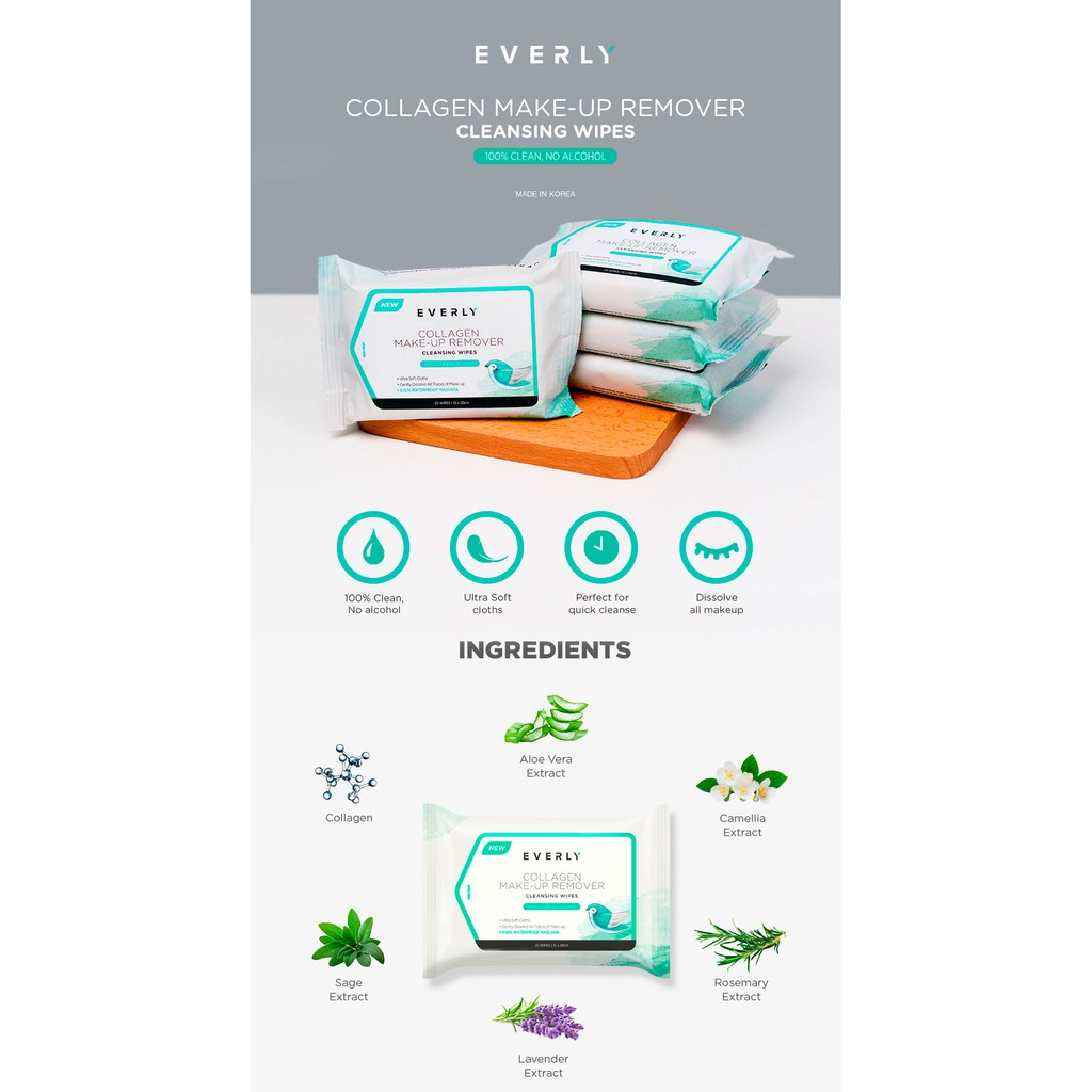 EVERLY Collagen Makeup Remover Cleansing Wipes Tissues 20 Pcs