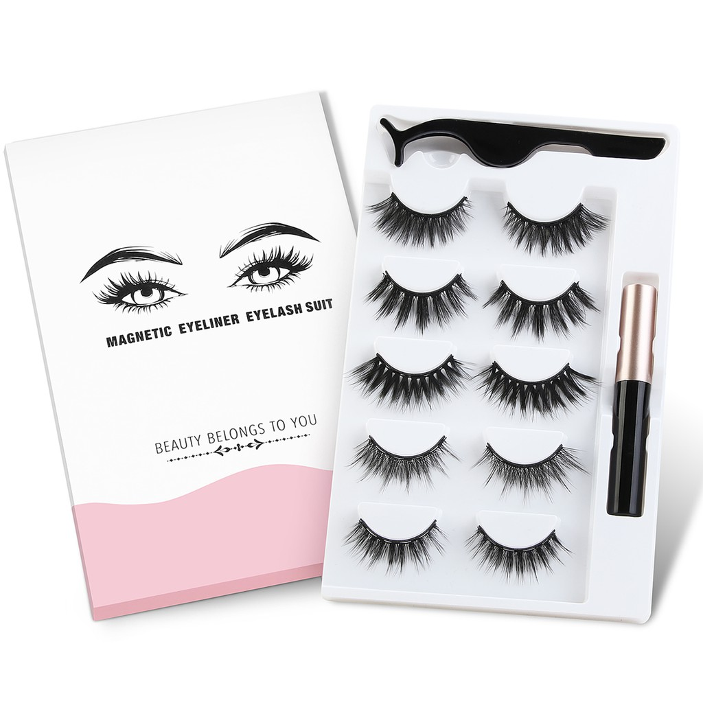 MAANGE 5 Pairs Magnetic Eyelashes Set  Easy to Wear Natural long 3D Faux Magnet Lashes