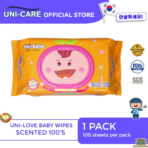 UniLove Powder Scent Baby Wipes 100's Pack of 1