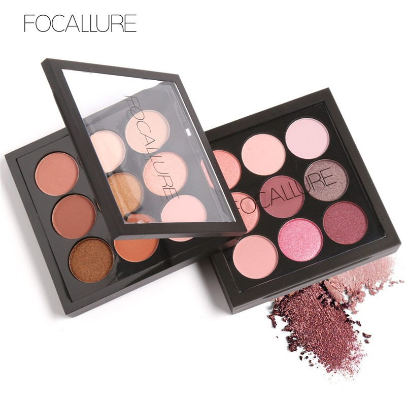FOCALLURE Earth Tone/Shimmer/Matte Eyeshadow Palette - 9 Colors