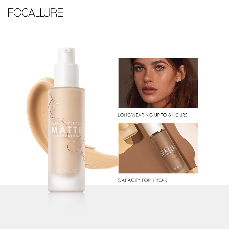 FOCALLURE COVERMAX Lquid Foundation 18Hours Long-wear Fullcoverage Suit for Combination&oily Skin Face Makeup