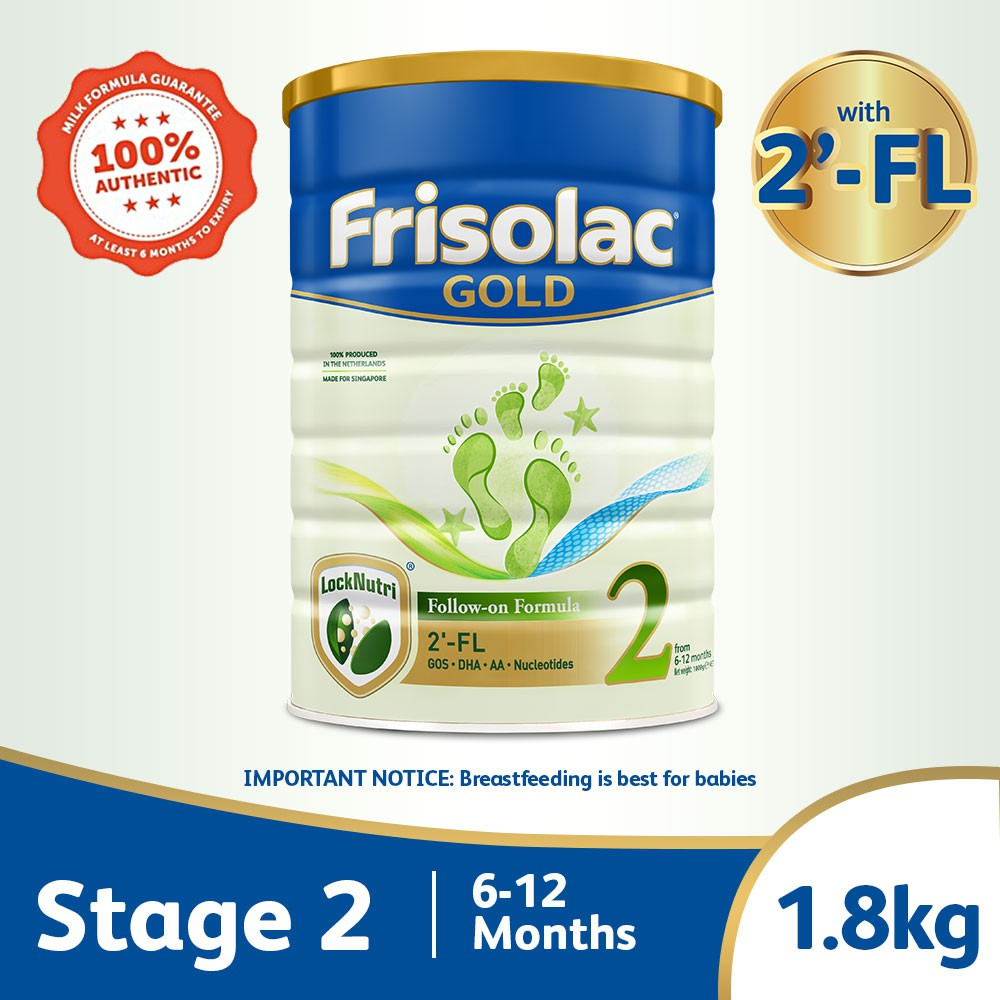 Frisolac Gold Stage 2 with 2'-FL 1.8kg - Follow-On Milk Formula Powder - For Infant / Newborn / Baby 6-12 months old