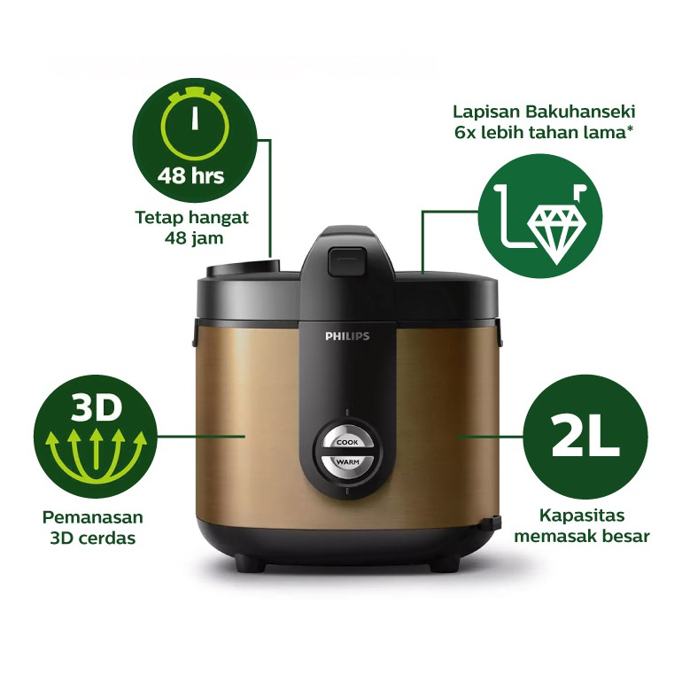 Philips Rice Cooker HD3138/34 Viva Collection - Emas