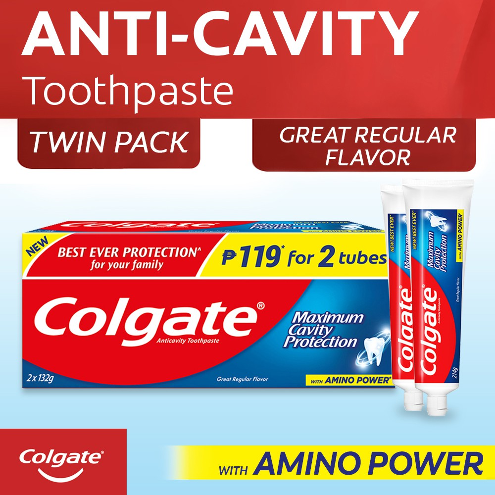Colgate Great Regular Flavor Anti Cavity Toothpaste Twin Pack 132g