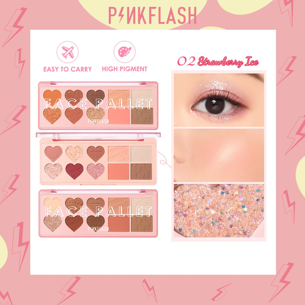 PINKFLASH OhMyLove Eyeshadow&Blush&Highlighter&Contour 4 in 1 convinience high pigment smooth Face Palette