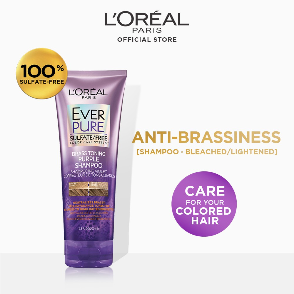 L'Oreal Paris Ever Pure Brass Toning Purple Shampoo and Conditioner 200mL [ Sulfate Free ]