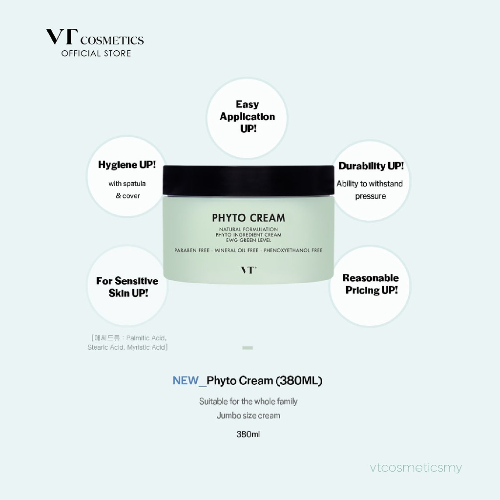 [Official] VT Phyto Cream, 380ml, Paraben Free, Suitable for Whole Family Product Expiry Date: 06/12/2021