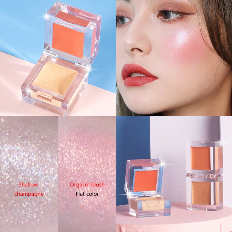 cocute Ice Cube Crystal Blush Highlight 2in1 Face Makeup Palette Smooth Pigmented Natural Matte Blush Shiny Highlight