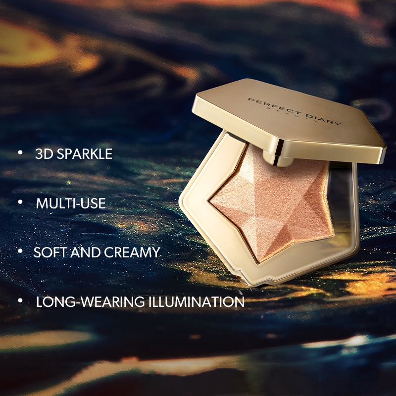 Perfect Diary Star Dust Diamond Highlighter Illuminating Highlighter Powder Smooth Glow Face Makeup 4 Colors