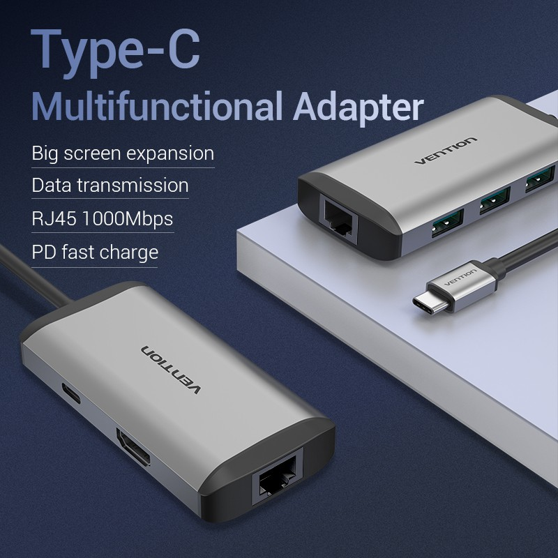 Vention Active USB C Hub Converter 6 in 1 Adapter Type C to USB 3.0/HDMI/PD/RJ45 87W New Arrival