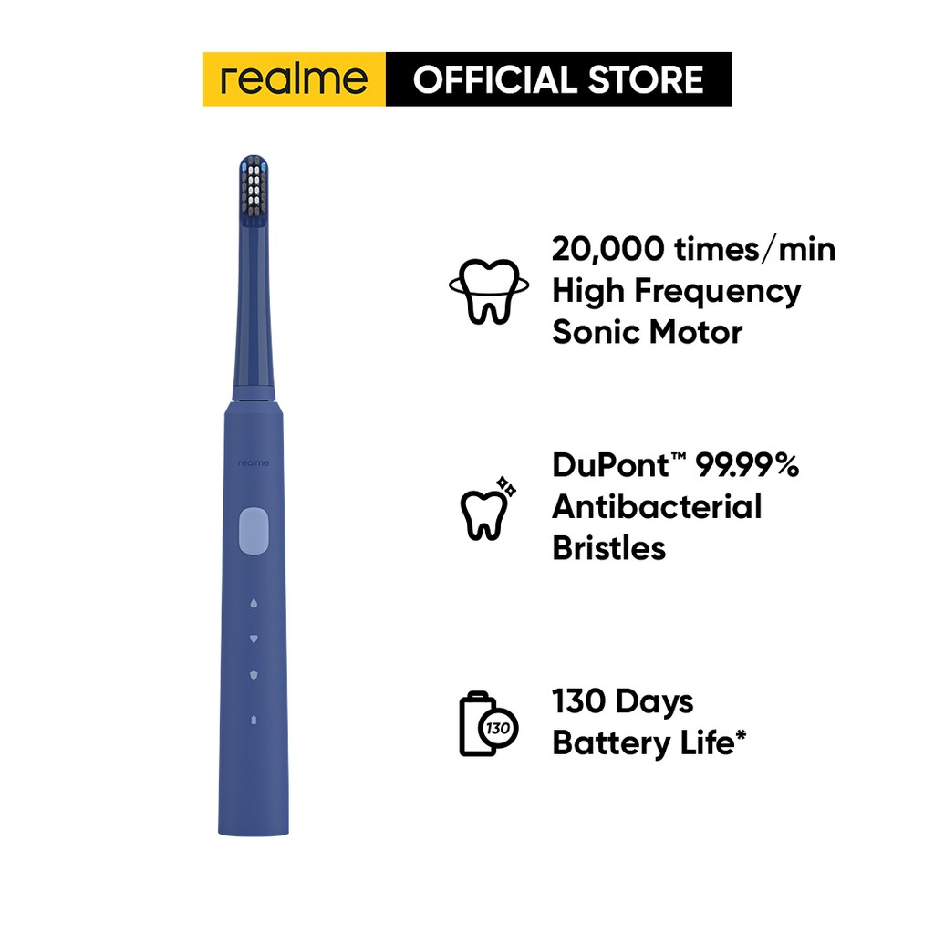 realme N1 Sonic Electric Toothbrush [1 to 1 Exchange in 1 year Warranty Period] - DuPont 99.99% Antibacterial Bristles