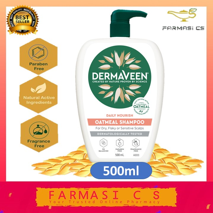 Dermaveen Oatmeal Shampoo 500ml EXP:01/2023 [ Soothes dry & sensitive scalp, Soap free, No parabens, Dyes ]
