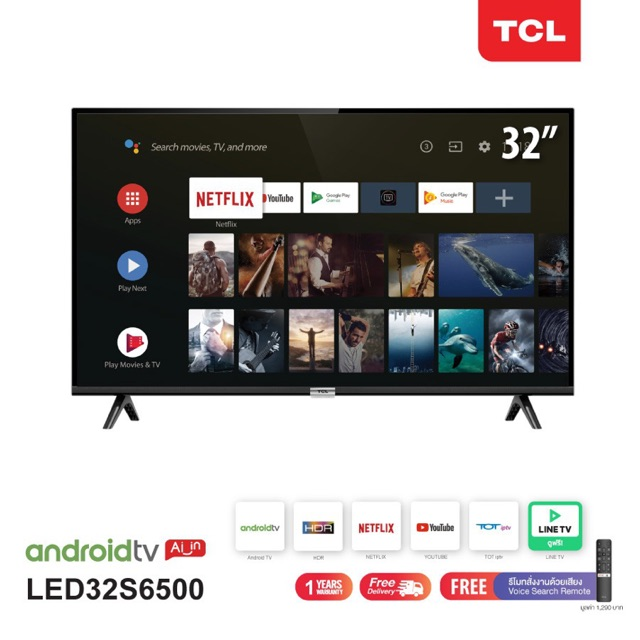 TCL ทีวี 32 นิ้ว Smart Android TV HD Wifi/Youtube/Nexflix + Free Voice Search remote รุ่น LED32S6500