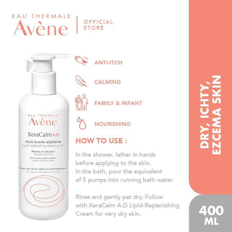 Eau Thermale Avène Xeracalm A.D Lipid-Replenishing Cleansing Oil 400ml