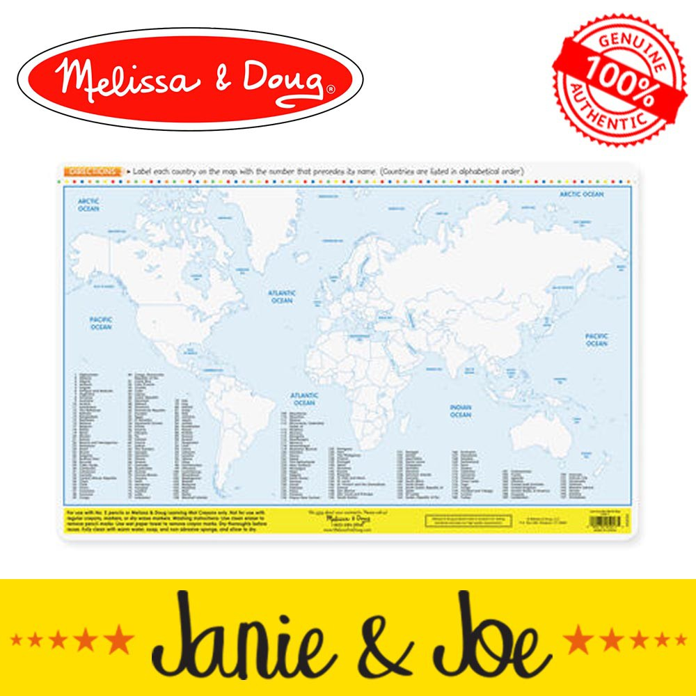 Melissa & Doug Countries Of The World Write-A-Mat- Age 4+ Years, Learning Mat, Placemat, Geography, Educational