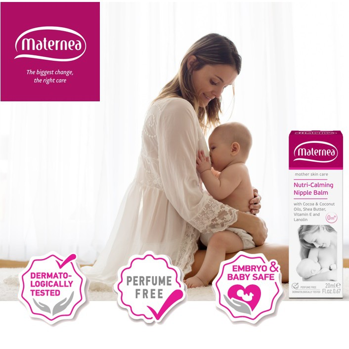 Maternea Nutri-Calming Nipple Balm 20ml. Protect, Soothe Sore & Cracked Nipples for Breastfeeding. Safe for Newborn.