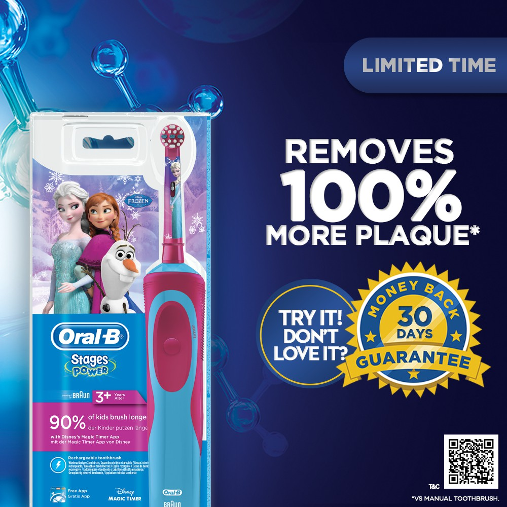 Oral-B Kids Vitality Electric Toothbrush 3+ - Disney Frozen / Cars