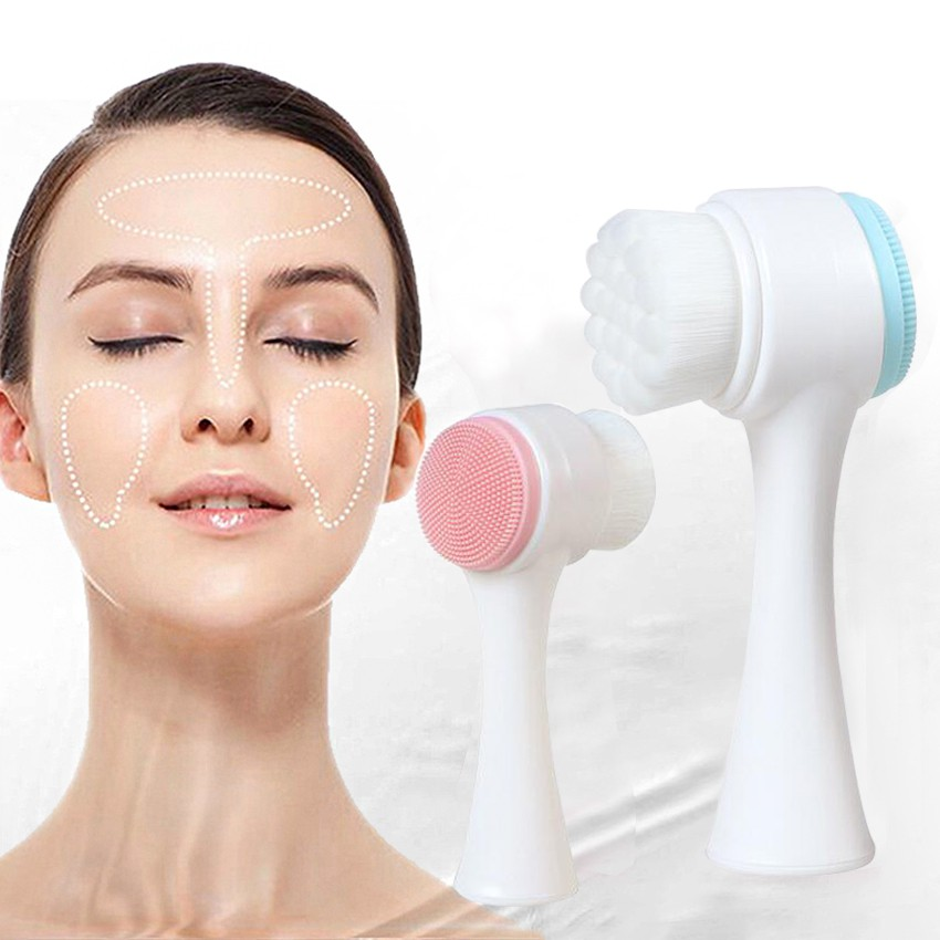 Yongrow Double Sided Face Washing Brush Skin Care Massager Cleaning Facial Cleanser for Deep Cleaning Blackhead Washer Pore Cleaner