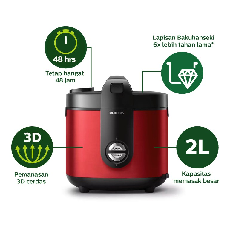 Philips Rice Cooker HD3138/32 Viva Collection - Merah