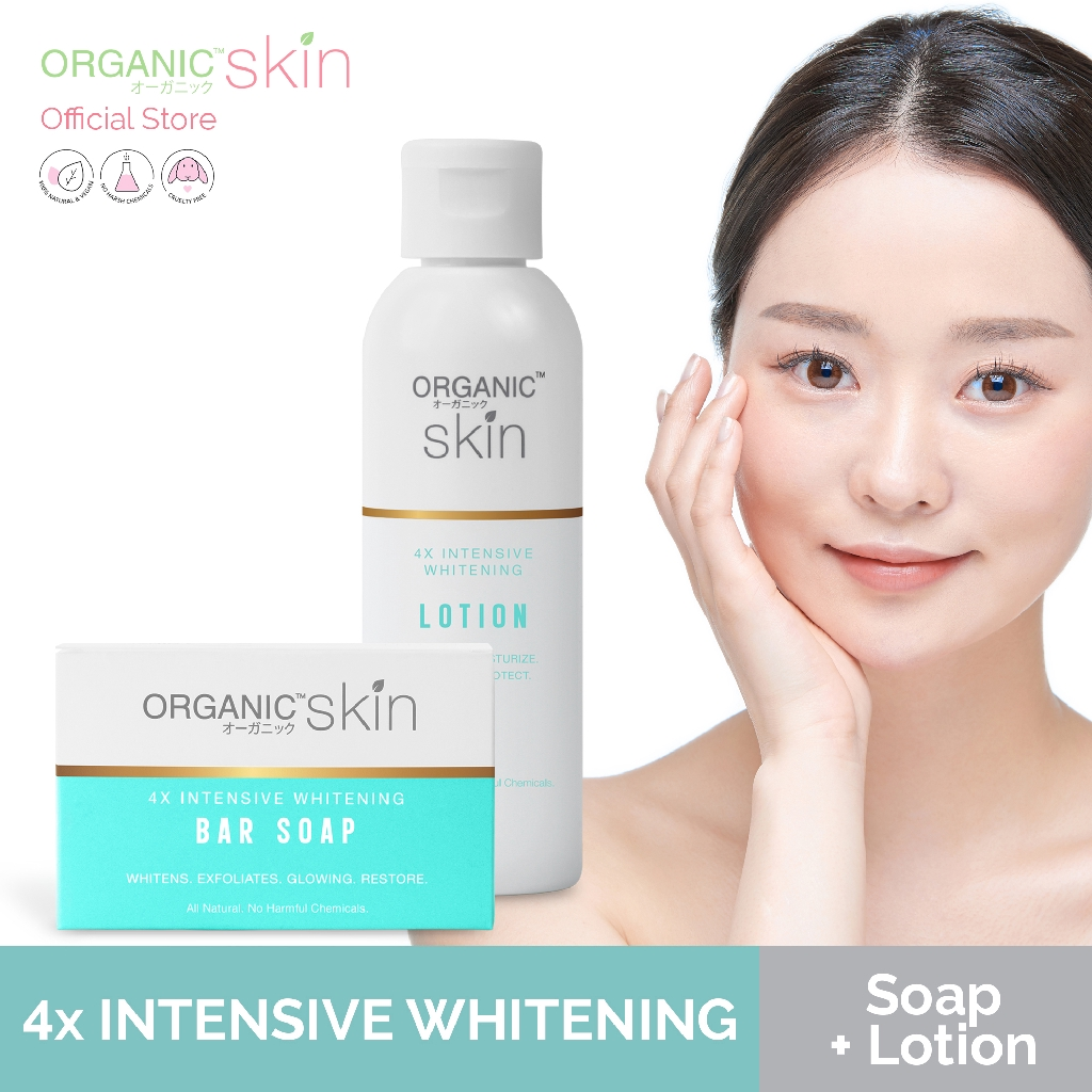 Organic Skin Japan 4x Intensive Whitening Soap and Body Lotion with SPF 30 Bundle