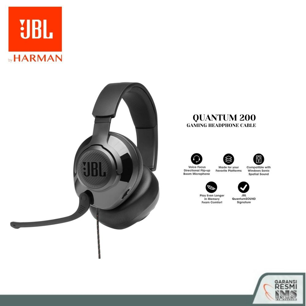 JBL Quantum 200 Wired Over-Ear Gaming Headset with Flip-up Mic - Garansi Resmi