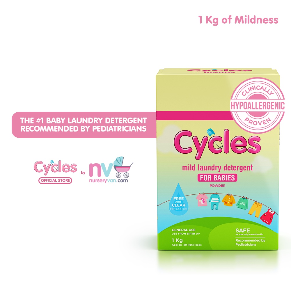 Cycles Baby Laundry Powder Detergent - Hypoallergenic for Baby's Sensitive Skin! - 1Kg