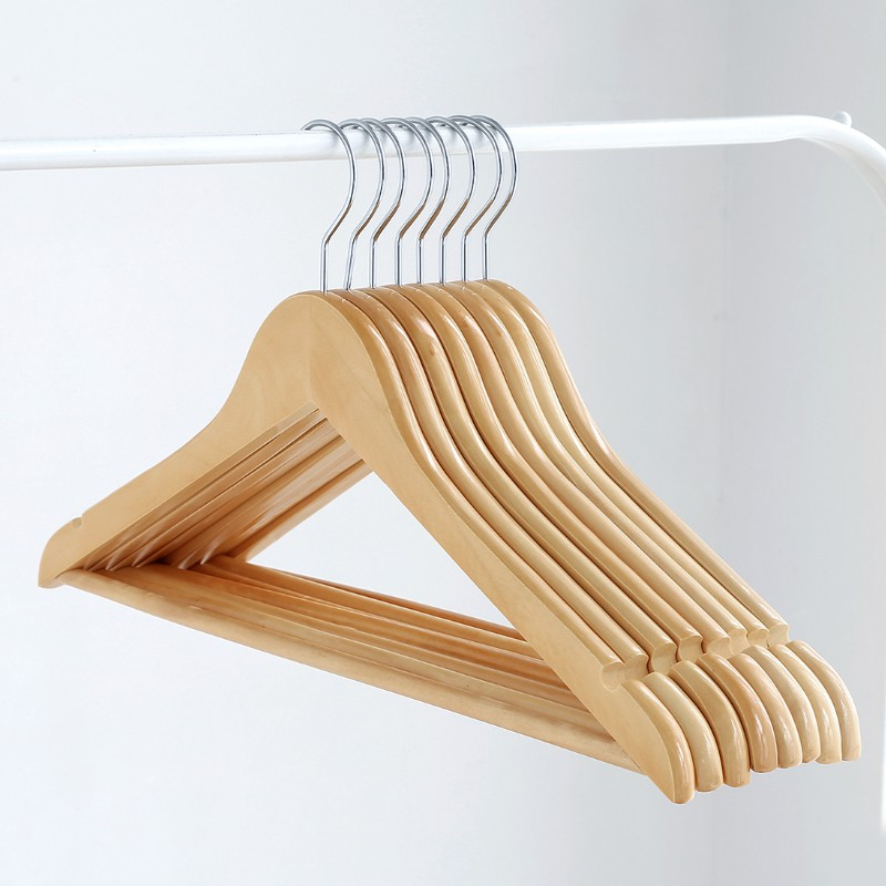 [Bundle of 10] Premium Wooden Clothes Hanger Stainless Steel Hook Clothes Wardrobe Drying Rack