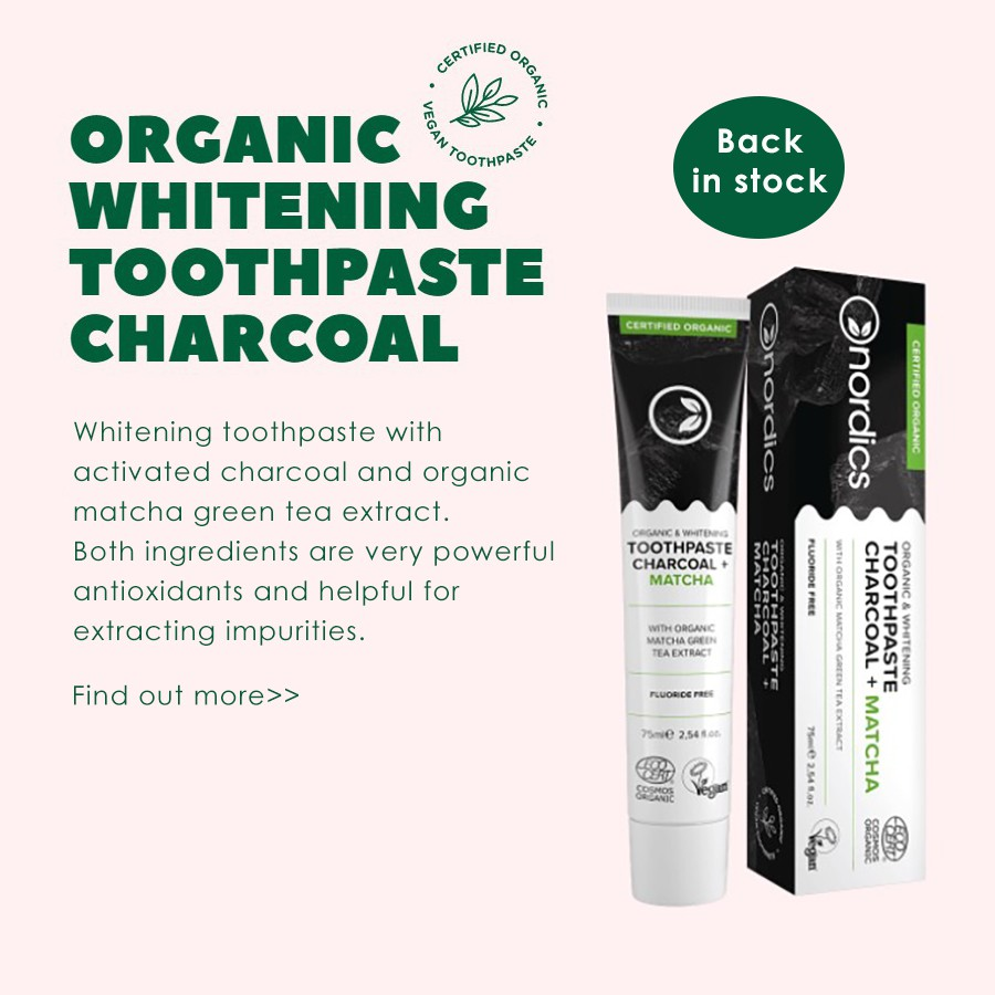 Nordics Whitening toothpaste Charcoal + Matcha 75ml - Nuluxe