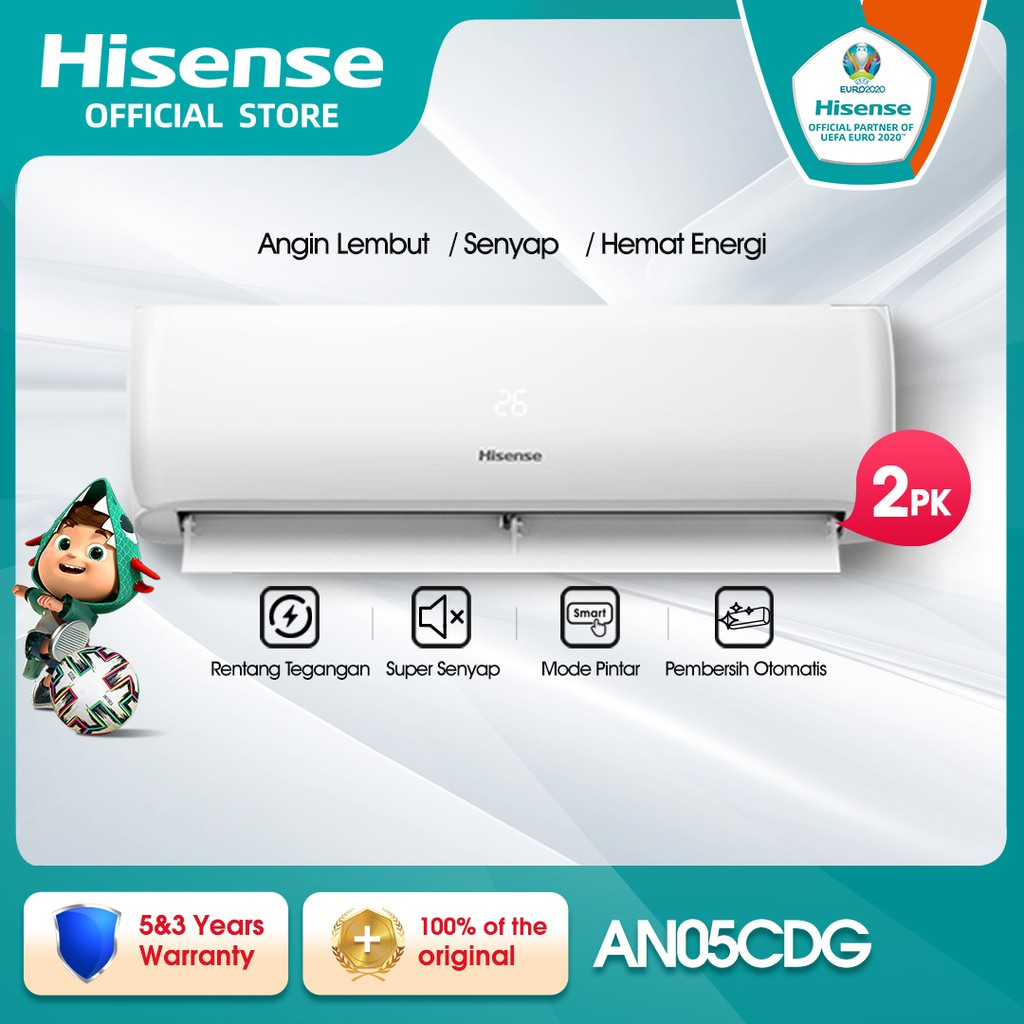 Hisense AC Air Conditioner Standard 0.5PK/1/2PK - AN05CDG Indoor+Outdoor Unit Only