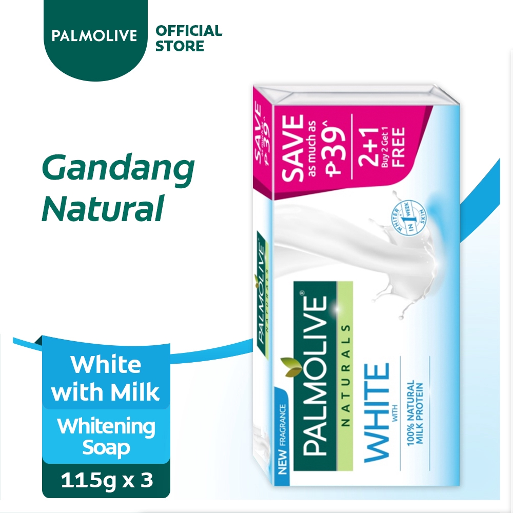 Palmolive Naturals White with Milk Whitening Bar Soap 115g 2+1 Value Pack